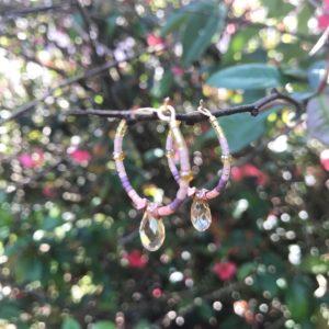 Créoles couleurs topaze et rose
