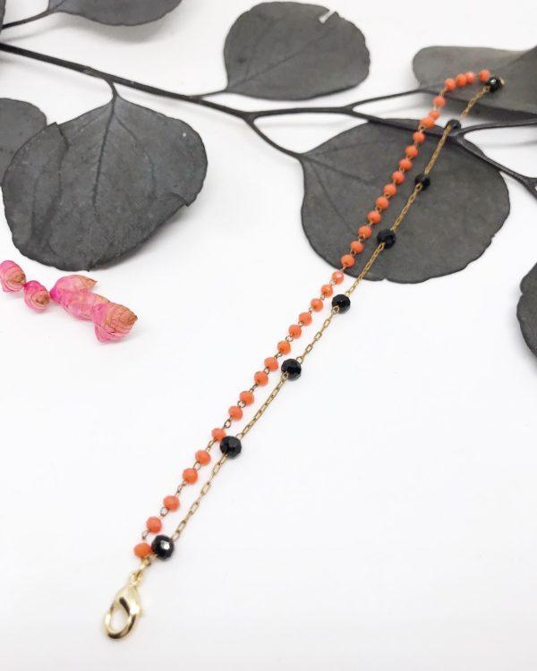 Bracelet corail et noir