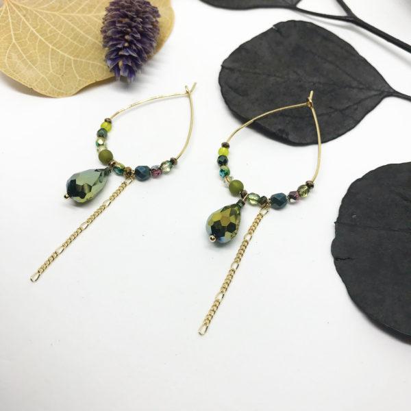 Créoles cristal vert