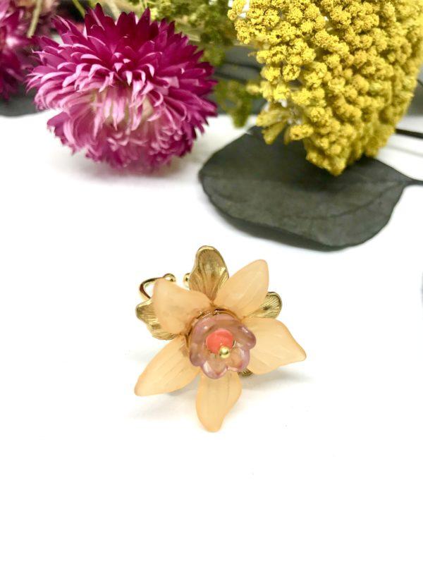 Bague fleur de tiaré orange