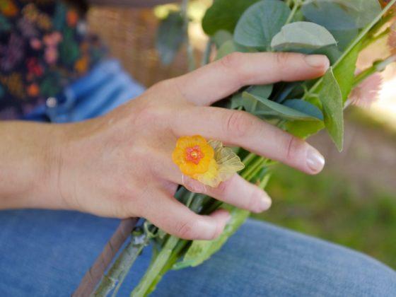 Bague Bouquet Orange et Jaune