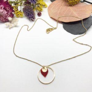 Collier anneau sequin rouge